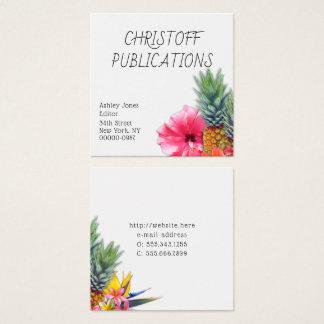 Cartões de visitas quadrados das flores havaianas