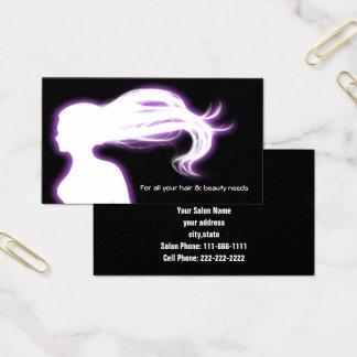 cartões de visitas roxos do cabeleireiro