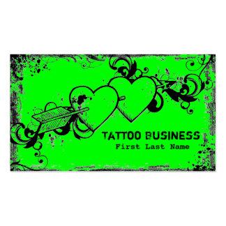 Cartões de visitas verdes de néon do tatuagem do