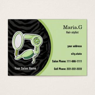 cartões de visitas verdes do cabeleireiro