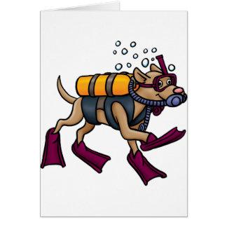 Cartões do cão do mergulho autónomo