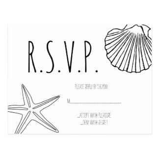 Cartões do casamento de praia RSVP da estrela do Cartão Postal