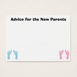 Cartões do conselho para os pais novos