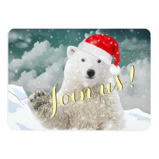 Cartões do convite do feriado do urso polar | do convite 12.7 x 17.78cm