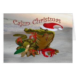 Cartões do jacaré do papai noel do Natal de Cajun