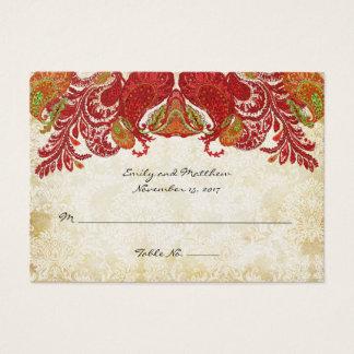 Cartões do lugar da mesa do damasco de Paisley do