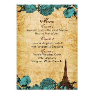 cartões do menu do casamento de Paris da torre Eif Convite