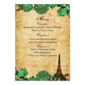 cartões do menu do casamento de Paris do