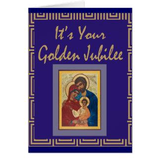 Cartões dourados do jubileu da freira católica
