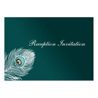 Cartões elegantes da recepção do pavão do branco e modelo cartões de visita