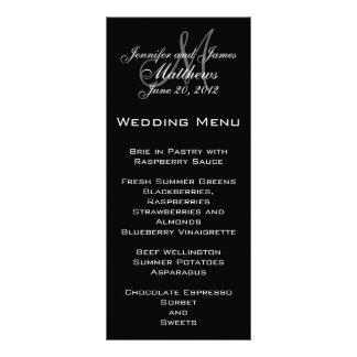 Cartões elegantes do menu do casamento do monogram 10.16 x 22.86cm panfleto