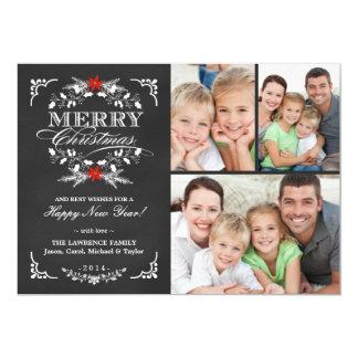 Cartões elegantes do Natal 3-Photo do quadro do Convite 12.7 X 17.78cm