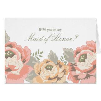 Cartões florais da madrinha de casamento do