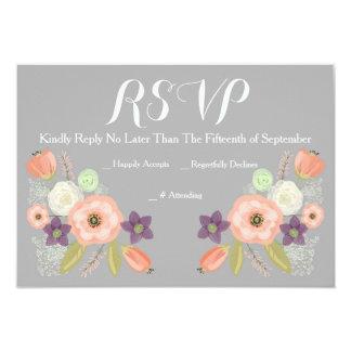Cartões florais da resposta da aguarela RSVP das Convite 8.89 X 12.7cm