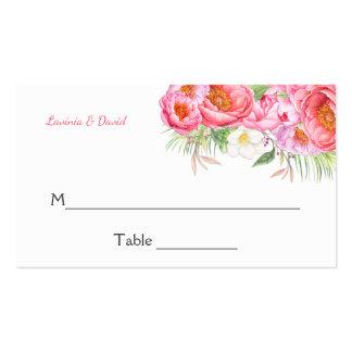 Cartões florais do lugar da aguarela cor-de-rosa cartão de visita