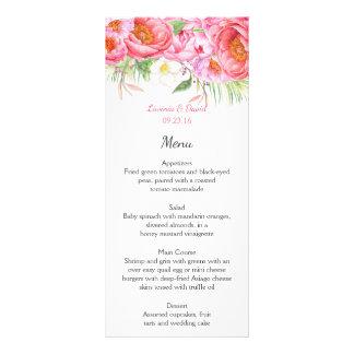 Cartões florais do menu da aguarela cor-de-rosa 10.16 x 22.86cm panfleto
