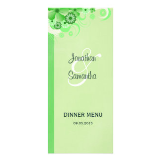 Cartões florais do menu do comensal de casamento 10.16 x 22.86cm panfleto