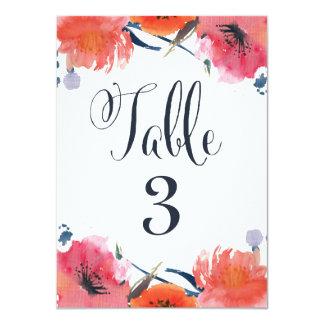 Cartões florais do número da mesa do casamento da convites