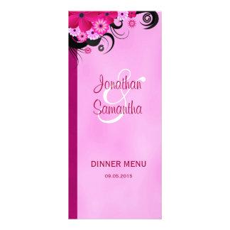 Cartões florais fúcsia claros do menu do comensal 10.16 x 22.86cm panfleto