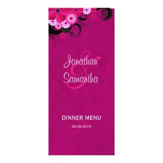Cartões florais fúcsia do menu do comensal de 10.16 x 22.86cm panfleto