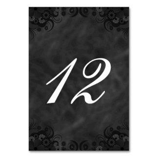 Cartões florais pretos do número da mesa da