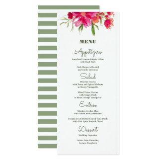 Cartões florais românticos do menu do casamento da