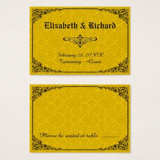 Cartões góticos amarelos do lugar do casamento