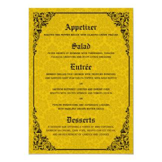 Cartões góticos do menu do casamento do Victorian