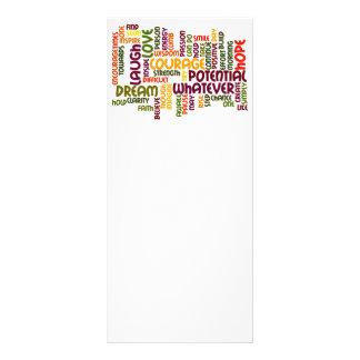 Cartões inspiradores da cremalheira das palavras modelo de panfleto informativo