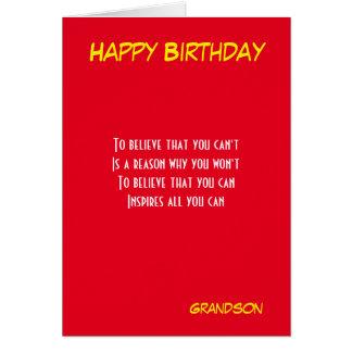 Cartões inspiradores do aniversário do neto