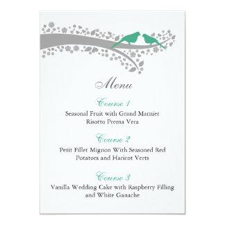 cartões irrisórios do menu dos lovebirds da convite 12.7 x 17.78cm