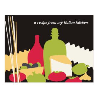 cartões italianos da receita do cozinheiro chefe cartão postal