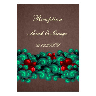 """cartões marrons """"teal&red"""" da recepção de cartões de visitas"""