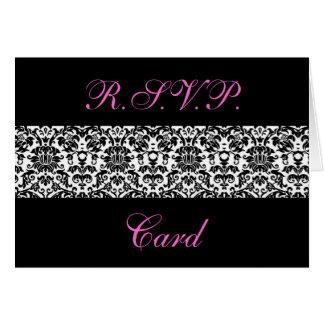 Cartões preto e branco da resposta do damasco