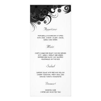 Cartões preto e branco florais do menu do comensal 10.16 x 22.86cm panfleto