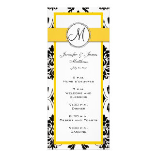 Cartões pretos do menu do casamento do amarelo do convite