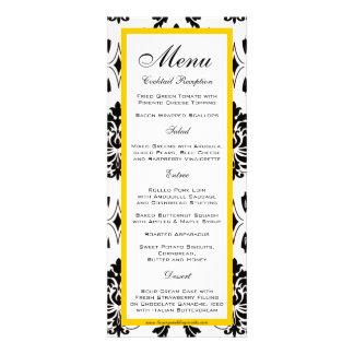 Cartões pretos do menu do casamento do amarelo do convite personalizados