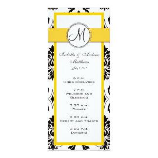 """Cartões pretos do menu do casamento do amarelo do convite 10.16"""" x 23.49cm"""