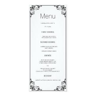 """Cartões pretos do menu do comensal de casamento do convite 10.16"""" x 23.49cm"""