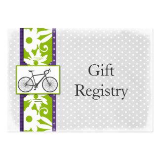cartões roxos da lista de presentes da bicicleta cartoes de visita