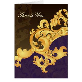 cartões roxos do casamento do ouro ThankYou