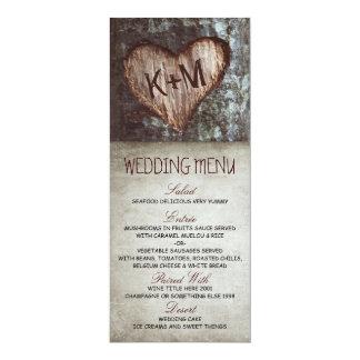 """Cartões rústicos do menu do casamento da árvore do convite 10.16"""" x 23.49cm"""