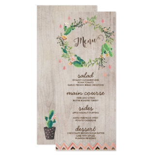 """Cartões rústicos pintados cacto do menu do convite 10.16"""" x 23.49cm"""