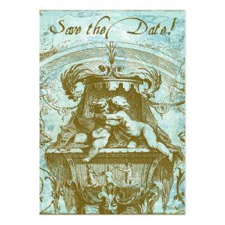 Cartões salve a data do vintage do bebê do anjo do cartão de visita grande