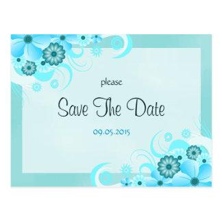 Cartões salve a data florais azuis do casamento do cartão postal