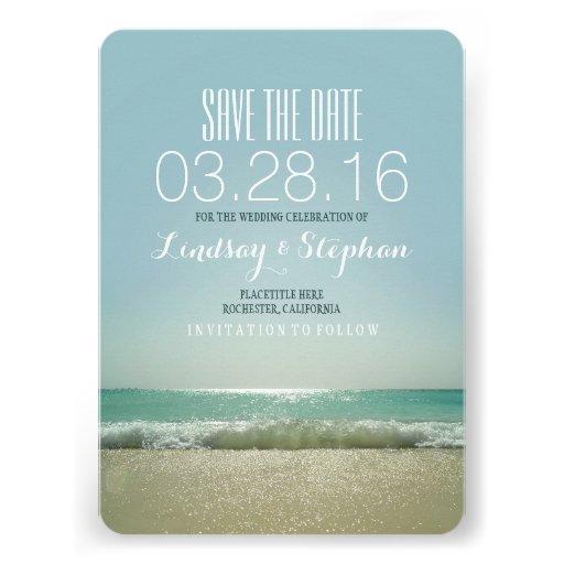 Cartões salve a data modernos do casamento de prai convites personalizados