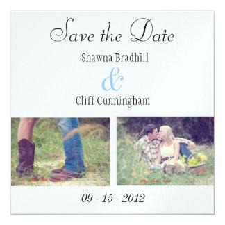 Cartões simples do noivado convite quadrado 13.35 x 13.35cm
