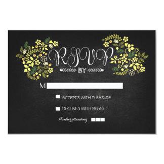 cartões wedding florais do quadro RSVP Convite 8.89 X 12.7cm