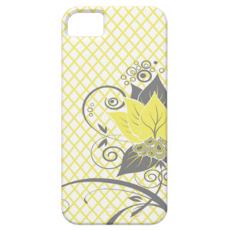 Carvão vegetal amarelo floral abstrato do Fishnet Capa Barely There Para iPhone 5