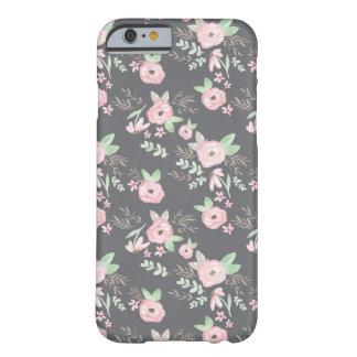 Carvão vegetal de Charlotte floral Capa Barely There Para iPhone 6
